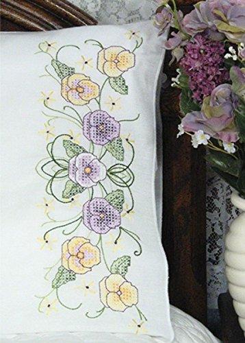 - Fairway Needlecraft 83274 Cross Stitch Perle Edge Pillowcases, Pansies Design, Standard, White