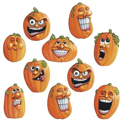 Beistle 4-1/2-Inch Wacky Jack-O-Lantern Cutouts for Halloween, Mini -