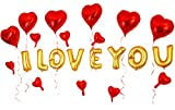 GOER 16 Inch I LVOE YOU Cute Gold Alphabet Letters Foil Balloons Set for Valentine's Day and Weedding Party Decoration Supplies,Include 22 Balloons