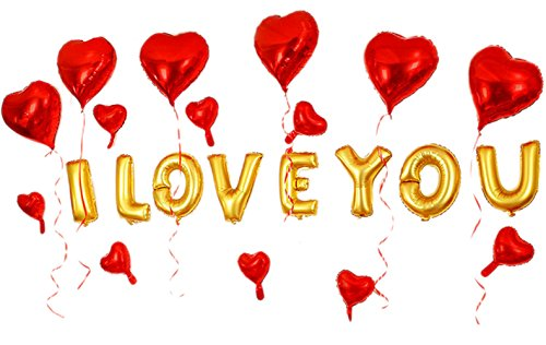 GOER 16 Inch I LVOE YOU Cute Gold Alphabet Letters Foil Balloons Set for Valentines Day and Weedding Party Decoration Supplies,Include 22 Balloons