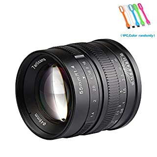 7artisans 55mm F1.4 APS-C Large Aperture Manual Focus Prime Lens Fixed Compatible for Fuji Cameras X-A1,X-A10,X-A2,X-A3,X-AT,X-M1,XM2.X-T1,X-T10,X-T2,X-T20,X-Pro1,X-Pro2,X-E1,X-E2 - Black