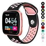 Compatible for Fitbit Versa | Soft Silicone Replacement Sport Band for New Fitbit Versa Smart Watch (Black/Pink, Small)