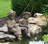 Fishing Boy & Girl Cast Stone Statues-Sculptures- Great Garden Gift Idea! Review