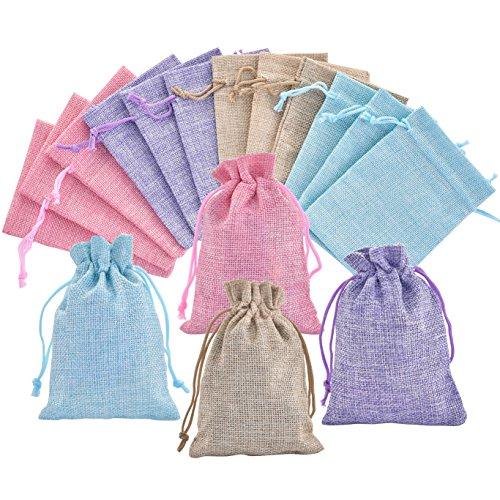 40Pcs 4 Color Burlap Bags with Drawstring Gift Bag Jewelry Pouches Small Jute Sacks Candy Organizer for Wedding Party Birthday Baby Shower DIY Craft Christmas Thanksgiving Favors, 5.0 x 4.0 inch (Best Tooth Fairy Gifts)