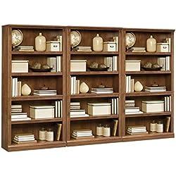 Sauder Storage Five Shelf Wall Bookcase in Oiled Oak Finish