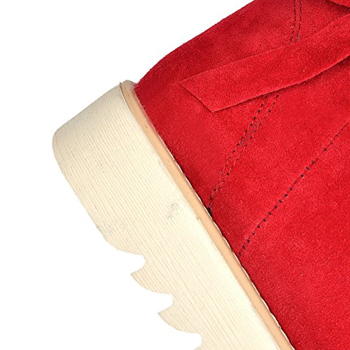 AllhqFashion Mujeres Sin cordones Mini Tacón Gamuza(Imitado) Caña Baja Nieve Botas Rojo