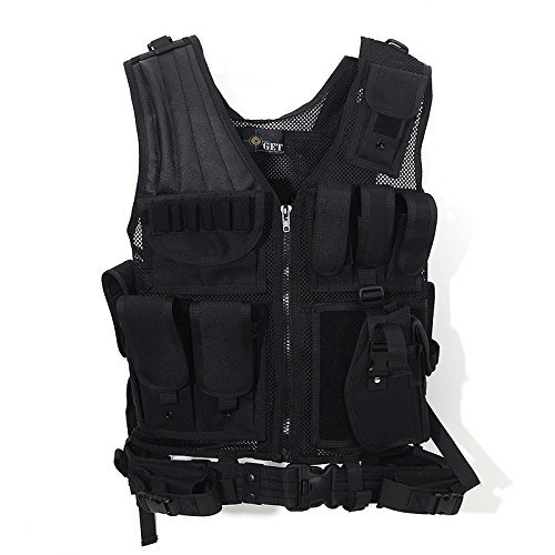 (Tactical Outdoor Law Enforcement Tactical Vest Adjustable Adult SWAT Military Police Vest Tactical Outdoor Vest (Black))