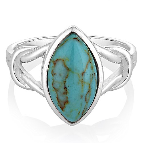 925 Sterling Silver Blue Turquoise Gemstone Marquise Shape Knot Band Ring Jewelry Size 7