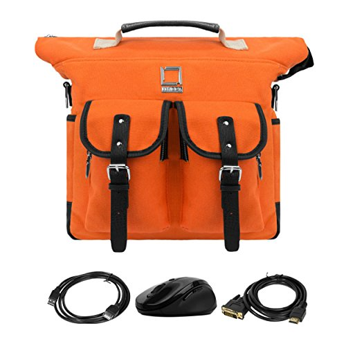 Lencca College Student Daypack / Satchel / Laptop Bag For Notebook Samsung Chromebook 2 11.6'' Orange & Computer Mouse & USB 2.0 Cable & HDMI Transfer by Lencca
