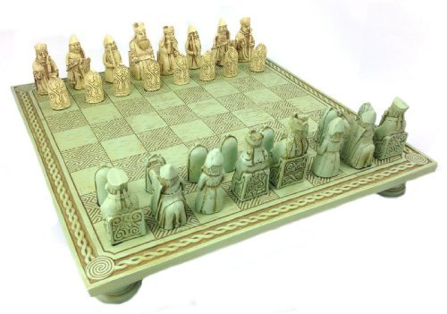 Celtic Chess Set and Board - Isle of Lewis, (Celtic Chess Board)