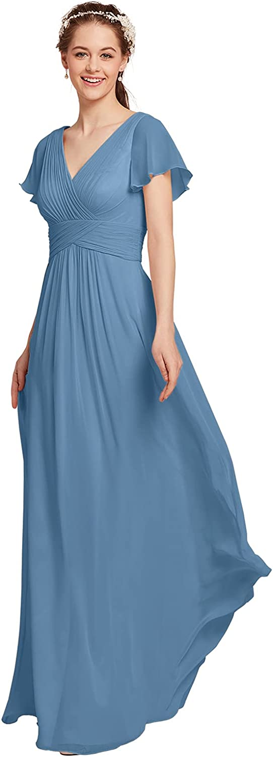 AW In a popularity BRIDAL Chiffon Bridesmaid Dress Mesa Mall for Dresses Sleeves Maxi with