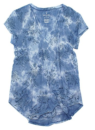 Favorite Floral Tee - American Eagle Women's Soft & Sexy V-Neck Favorite T-Shirt W05 (Medium, 532 Floral Blue)