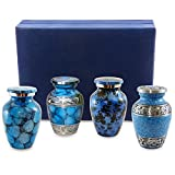 small urns for human ashes - Forever Remembered Classic Blue Small Mini Cremation Keepsake Urns for Human Ashes - Set of 4 - Find Peace and Comfort Everytime You Look At These Beautiful Urns - Includes Superb Blue Velvet Urn Case