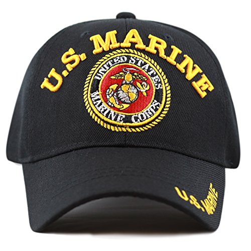 THE HAT DEPOT Official Licensed 3D Embroidered Military Classic One Size Cap (Black-U.S.Marine)