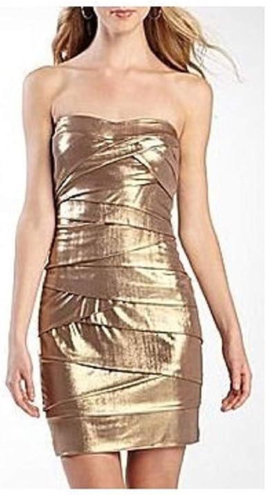 Amazon Com Bisou Bisou Metallic Strapless Dress Size 4 Taupe Gold Clothing