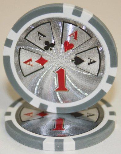 - 100 $1 Hi Roller 14 Gram Laser Graphic Poker Chips