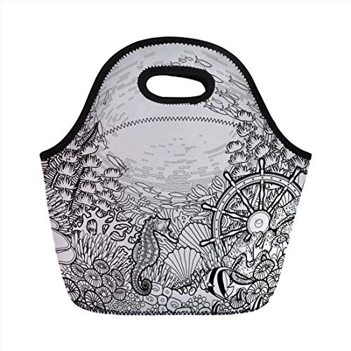 Aquarium,Graphic Coral Reef with Sea Horse Ocean Fish and Sunken Ship Line Art Drawing Decorative,Black and White,for Kids Adult Thermal Insulated Tote Bags ()