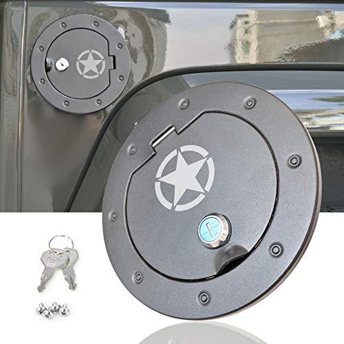 Jeep JK Gas Tank Cap Cover, bestaoo Jeep JK Aluminium Gas Tank Cap with Lock Fuel Filler Door Cover for 2007-2017 Wrangler JK - Star