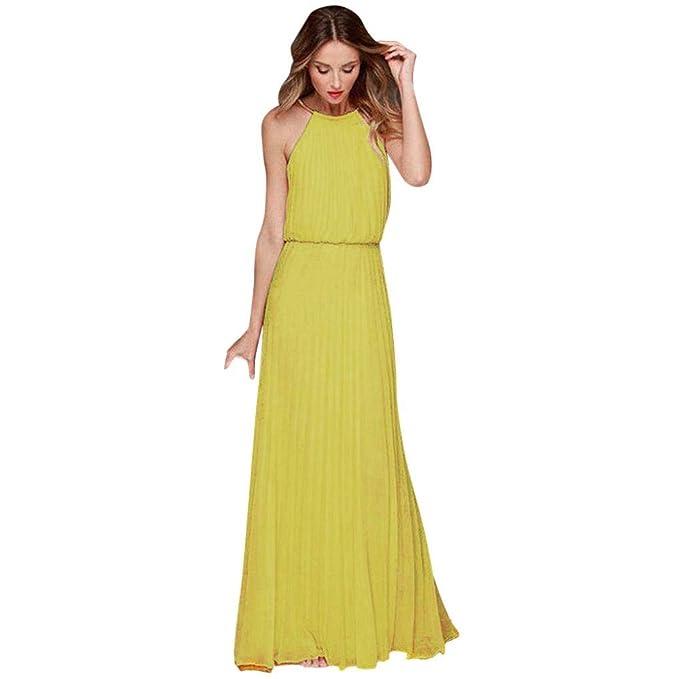 Vestidos Largos De Mujer,Moda Elegantes Diario Sin Mangas Casual Suelto Ahuecar Color Sólido Faldas