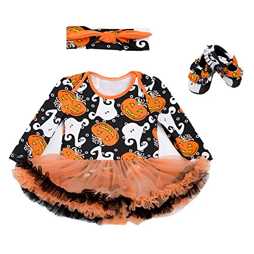 Beide Baby Girls Halloween Outfits Tutu Pumpkin Print Romper Headband Leg Warmer Shoes (Baby Old Woman Halloween Costume)