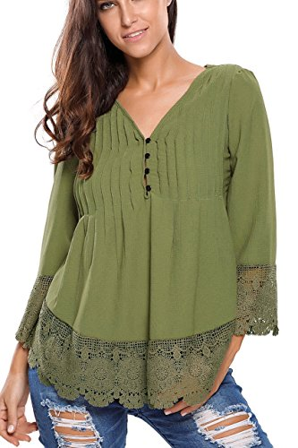 Wholesale Princess Lace Detail Button Up 3/4 Sleeve Blouse (Medium, Olive Green)