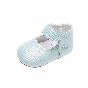 Kolylong Baby Toddler Newborn Girls Cute Shoes Soft Sole Wave Bowknot Shoes First Walk Shoes 0-6 Months, Mint Green