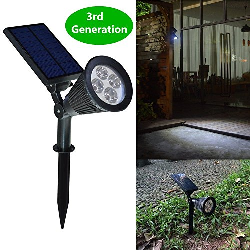 New-Version-2-Modes-HKYH-200-Lumens-2-in-1-Solar-Powered-LED-Landscape-Lighting-Solar-Wall-Lights-Waterproof-Outdoor-Landscaping-Lights-Bulb-Spotlight-for-Tree-Flag-Driveway-Yard-Lawn-Pathway-Garden