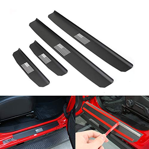 for Nissan Rogue Door Sill Protector Reflective 4D Carbon Fiber Sticker Door Entry Guard Door Sill Scuff Plate Stickers Auto Accessories 4Pcs White