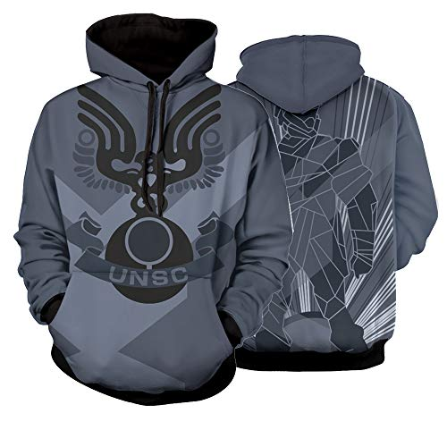 Halo 3 ODST Factions UNSC Hoodies Pullover Hooded Master Chief First-Person Shooter Sweatshirts (L) Blue