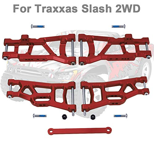 Hobbypark Aluminum Suspension Arms,Front & Rear, w/Tie Bar Replacement of 2555 3631 for 1/10 Traxxas Slash 2WD Upgrade Parts (Red)