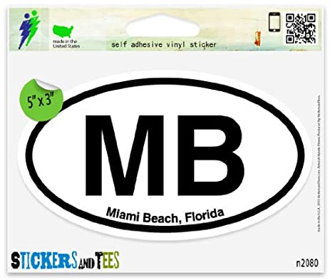 Mb miami beach florida oval car sticker indoor outdoor 5