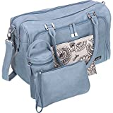 Isoki Baby Diaper Bag with 13 Pockets| Large Blue Tote for your Boy and Girl | Organizer Bags for Travel | Gift Set includes Changing Mat, Purse and Bottle Pack