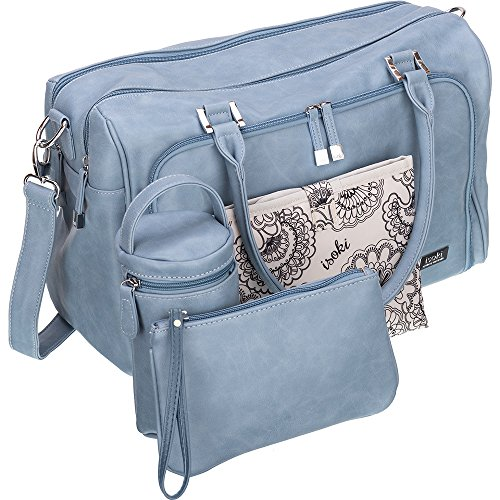 Isoki Baby Diaper Bag with 13 Pockets| Large Blue Tote for your Boy and Girl | Organizer Bags for Travel | Gift Set includes Changing Mat, Purse and Bottle Pack by isoki
