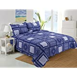 Stumix LuxuryReversible Quilt Set 3PC Set,Super Soft Bed Quilt Bedspread Bed Cover (Queen, Blue Toile Patchwork)