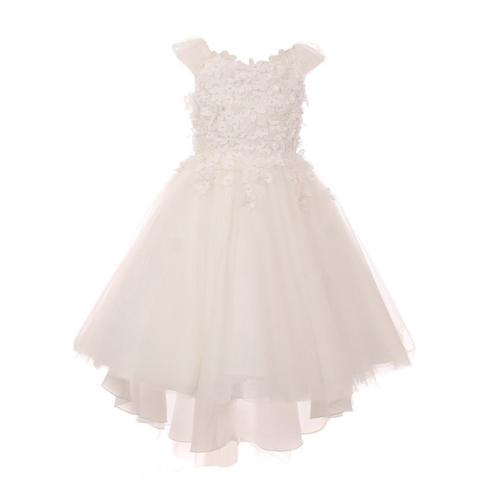 Little Girls Ivory 3D Flower Adorned Soft Tulle Hi-Low Flower Girl Dress 6