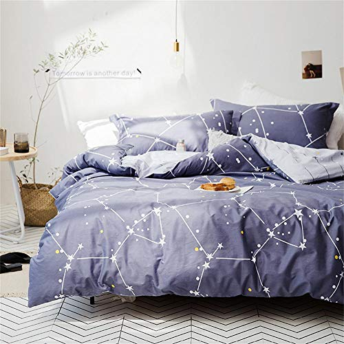 Softta Space Constellation Bedding Set Star Map Universe Galaxy Duvet Cover King 3 pcs 100% Cotton Gray Blue Purple for Teen Boys Girls Men Women (Duvet Size Covers King Mens)