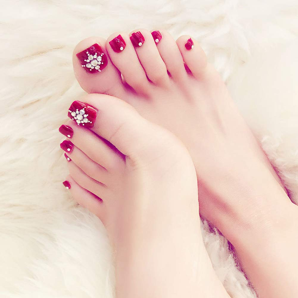 Amazon.com : 24 PCS Women Ladies Home Salon ABS Artificial False Toenails Wine Red Diamonds Toe Nail Art Tips Decoration : Beauty