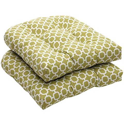 Pillow Perfect Indoor/Outdoor Green/White Geometric Wicker Seat Cushions, 2-Pack