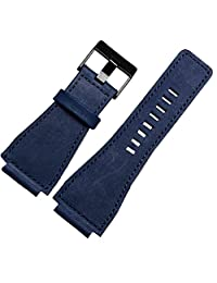 Blue Leather Watch Strap 24mm Suitable BR01 BR03 Bell&Ross MILITARY Band Black Buckle