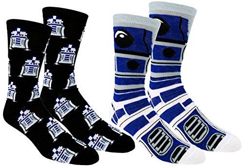 Star Wars Mens Casual Crew Socks 2   3 Pair Pack  One Size  R2d2 Multi