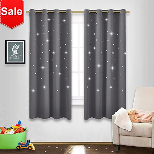 NICETOWN Gray Stars Kids Curtains - Nap time Essential Nursery Window Curtains for Kid's Room, Super Cute Drape Panels with Die-Cut Stars (2 Panels, W52 x L63 inches, Grey) (Best Curtains For Nursery)