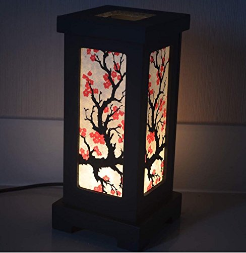 Thai Vintage Handmade Asian Oriental Japanese Sakura Flower Bedside Table Light or Floor Wood Paper Lamp Shades Home Bedroom Garden Decor Modern Design from Thailand