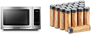BLACK+DECKER EM036AB14 Digital Microwave Oven, 1000W, 1.4 cu.ft, Stainless Steel & AmazonBasics 20-Count AA High-Performance Alkaline Batteries, 10-Year Shelf Life, Easy to Open Value Pack