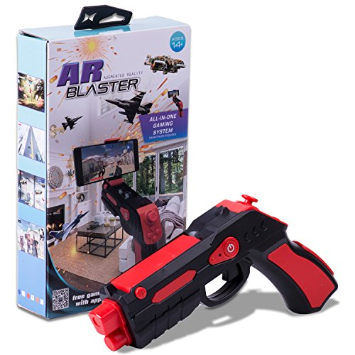 (AR BLASTER Augmented Reality 360° VR Portable Gaming Gun: Wireless Bluetooth Controller Toy Pistol for iOS iPhone and Android Smartphone | FREE App 35+ Games Action & Lerning, w/ Joystick (RED))
