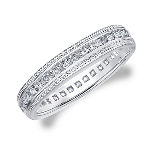 - 18K White Gold Diamond Milgrain Wedding Band (1/2 cttw, G-H Color, SI1-SI2 Clarity) Size 6