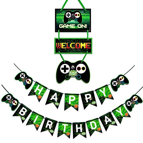 Video Game Party Supplies Favors Birthday Banner And Gaming Door Decoration For Boys Gamer Party Decoration