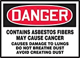 "Accuform Signs LCAW101VSP Workplace Warning Label, Legend ""DANGER CONTAINS ASBESTOS FIBERS - MAY CAUSE CANCER - CAUSES DAMAGE TO LUNGS - DO NOT BREATHE DUST - AVOID CREATING DUST"", 3.5"" Length x 5"" Width x 0.004"" Thickness, Adhesive Vinyl, Red/Black on White (Pack of 5)"