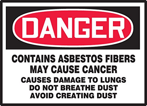 "Accuform LCAW102VSP Workplace Warning Label, Legend ""DANGER CONTAINS ASBESTOS FIBERS - MAY CAUSE CANCER - CAUSES DAMAGE TO LUNGS - DO NOT BREATHE DUST - AVOID CREATING DUST"", 5"" Length x 7"" Width x 0.004"" Thickness, Adhesive Vinyl, Red/Black on White (Pack of 5)"