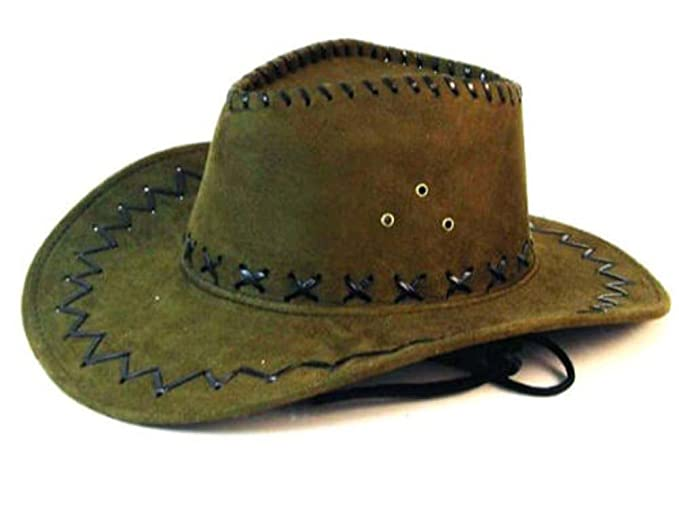 Deluxe Olive Green Simulated Suede Leather Western Style Cowboy ... 7d26485339b
