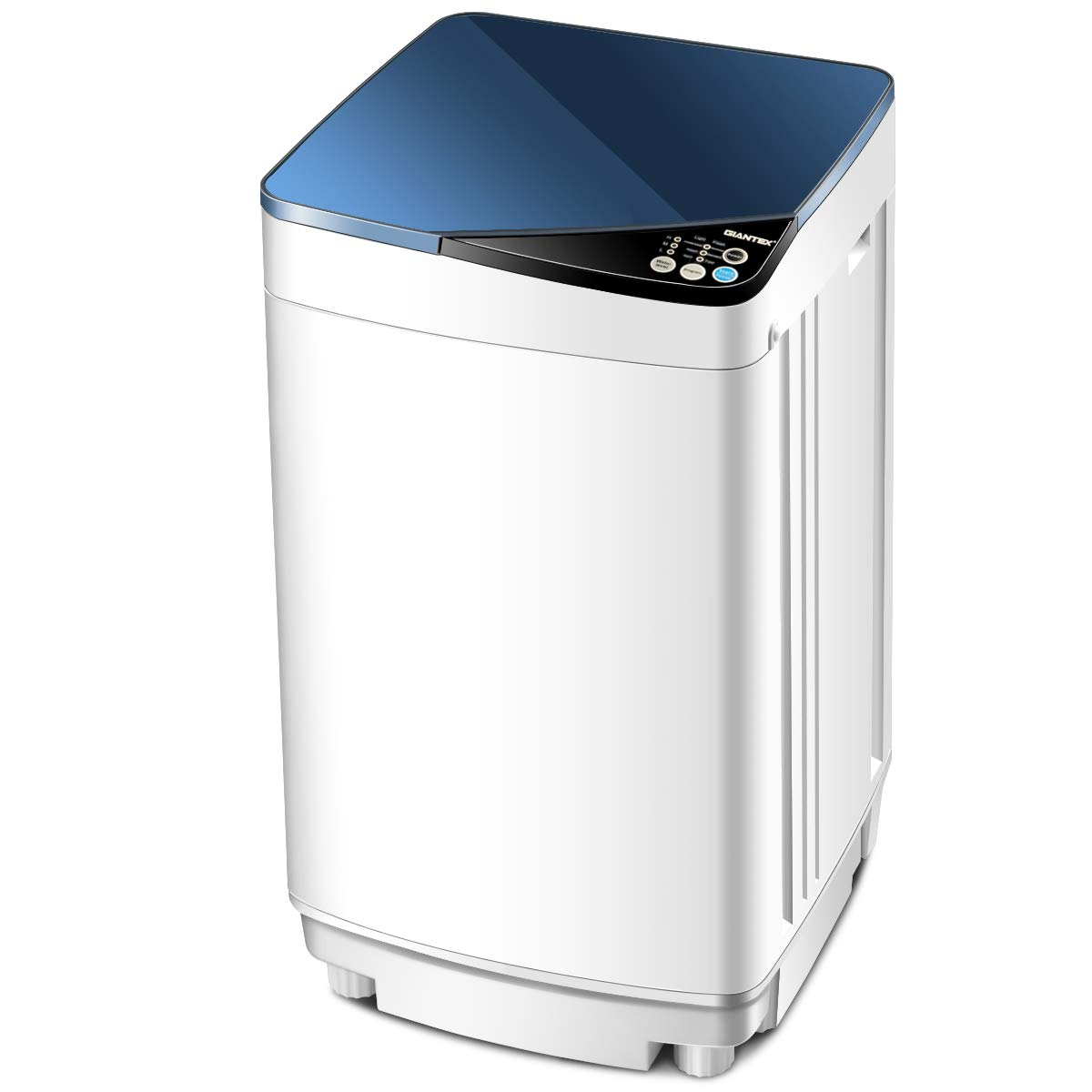 Giantex Full-Automatic Washing Machine Portable Washer and Spin Dryer 10 lbs Capacity Compact Laundry Washer with Built-in Barrel Light Drain Pump and Long Hose for Apartments Camping (White & Blue) by Giantex